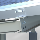 Aluminum V-shaped brackets bolted or clamped on H-Beams