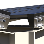 Dual-tilt allows for a central gutter for snow and ice (option)